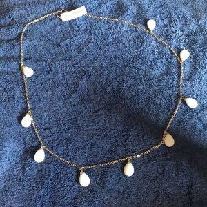 NWT semi precious stone gold/white linear necklace